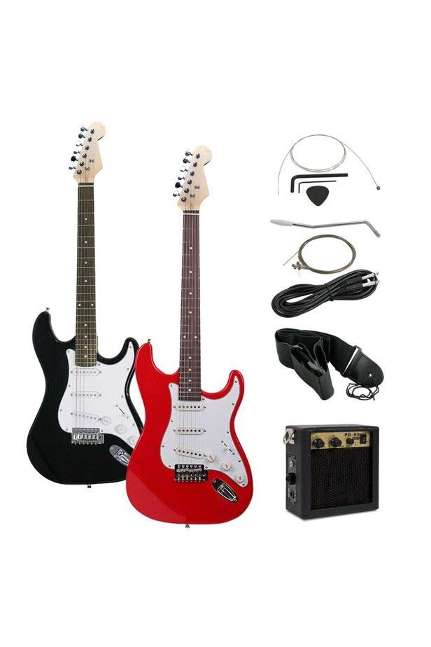 Elektromos gitár szett kezdőknek, ajándék erősítővel - fekete-fehér - szimpla