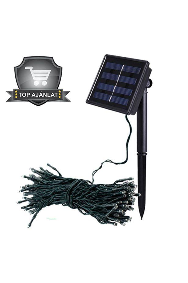 100 LED solar garden light string, 3 colors, 11.40 m - 10 météres - Hidegfehér