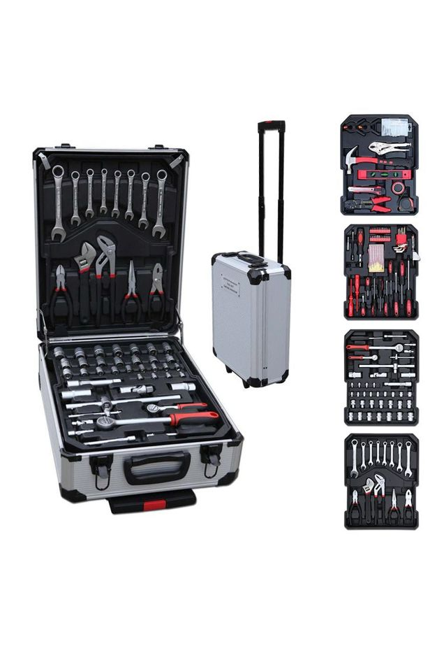 187-piece DIY set in a rolling suitcase
